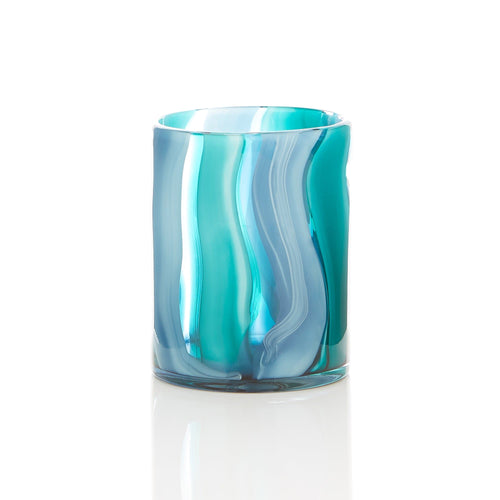 Small Blue Cylinder Glass Vase