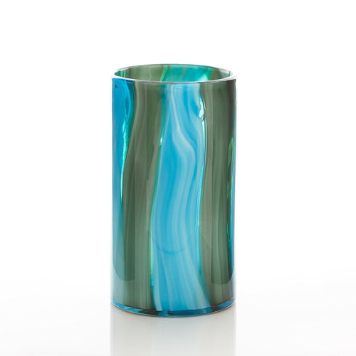 Small and  Large Blue Cylinder Glass Vase
