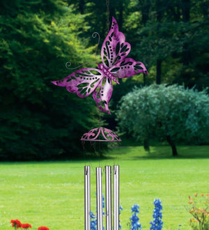 Fuchsia Butterfly Wind Chime