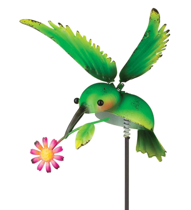 Green Hummingbird with Flower Garden Stake