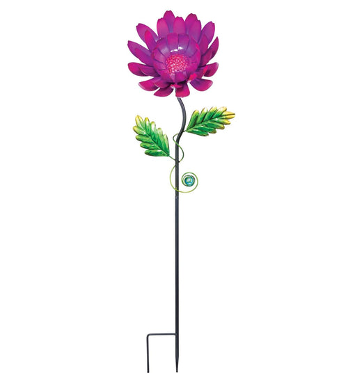 Purple Mum Metal Garden Stake