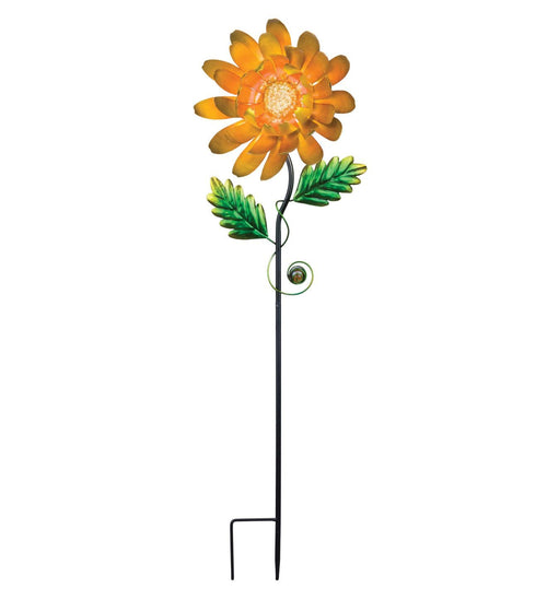 Orange Mum Metal Garden Stake