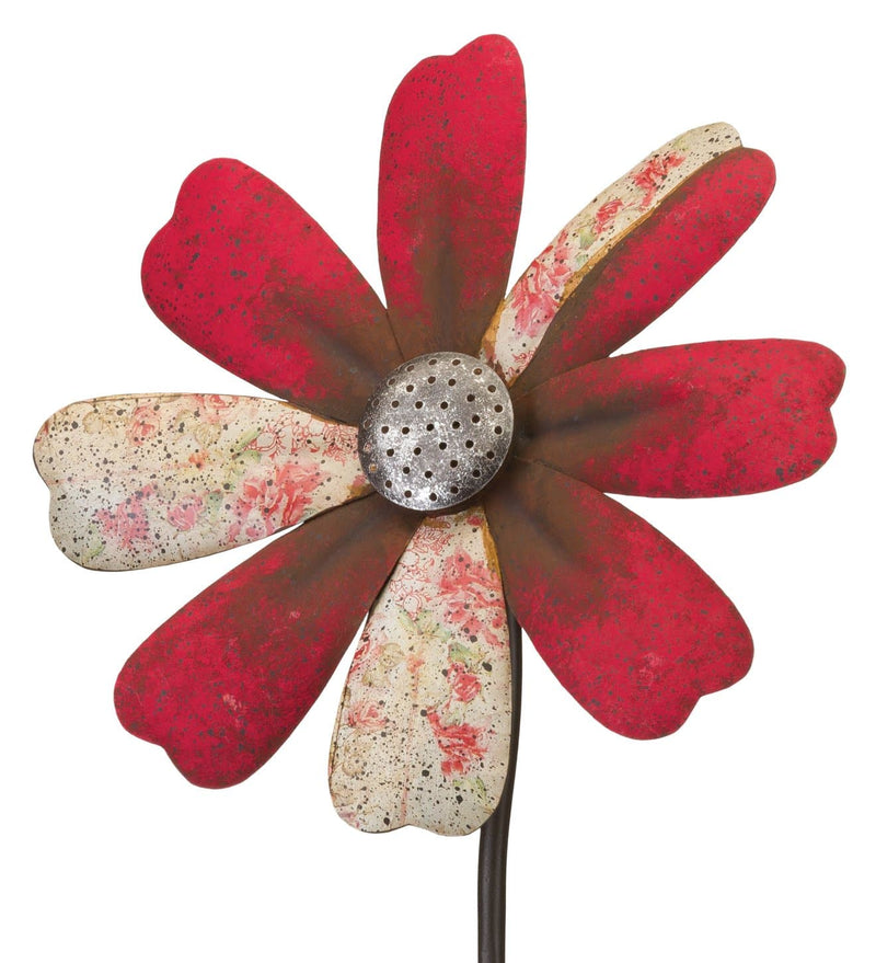 Red Flower Wind Spinner with Stake