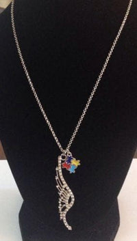 Crystal Angel Wing Charm with Colorful Puzzle Autism Awareness Charm Necklace - The House of Awareness
