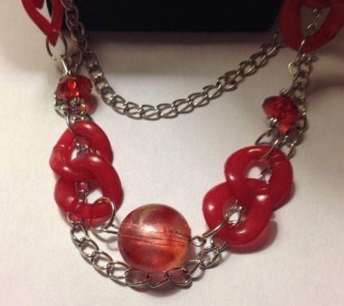 Long Silver Chained Necklace with Red Stones - The House of Awareness