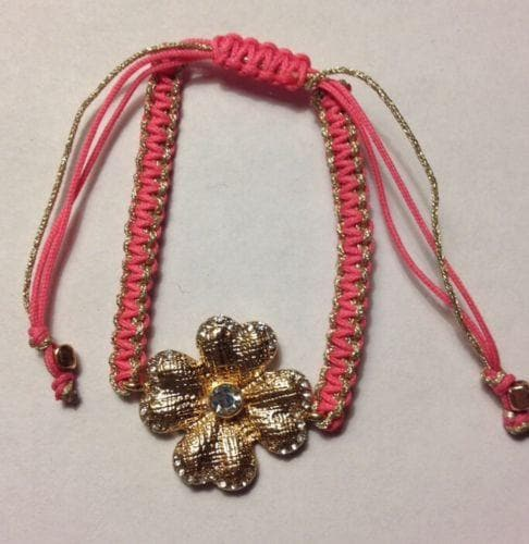 Pink Fashion Crystal metal flower braided yarn friendship bracelet , Bracelets - The House of Awareness, The House of Awareness  - 2