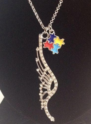 Crystal Angel Wing Charm with Ribbons for Autism Charm Necklace - The House of Awareness