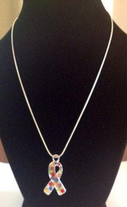Autism Awareness Crystal Ribbon Pendant Necklace - The House of Awareness