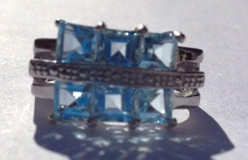 925 Silver Ring with Blue Topaz Stones Size 6 1/2 , Gemstone - The House of Awareness, The House of Awareness  - 2