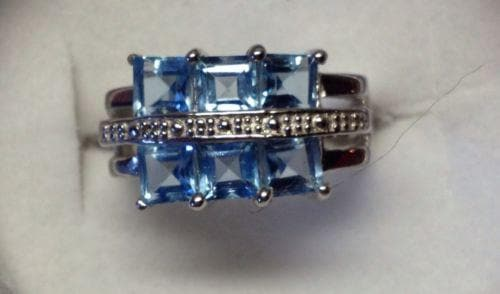 925 Silver Ring with Blue Topaz Stones Size 6 1/2 , Gemstone - The House of Awareness, The House of Awareness  - 12