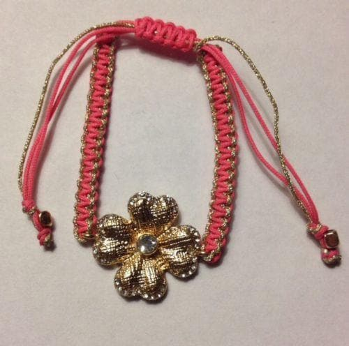 Pink Fashion Crystal metal flower braided yarn friendship bracelet - The House of Awareness