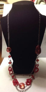 Long Silver Chained Necklace with Red Stones with Matching Red Earrings - The House of Awareness