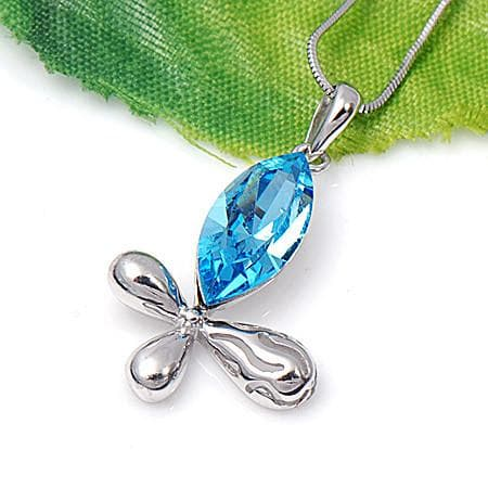 Sterling Silver Swarovski Elements Blue Pendant with Necklace - The House of Awareness