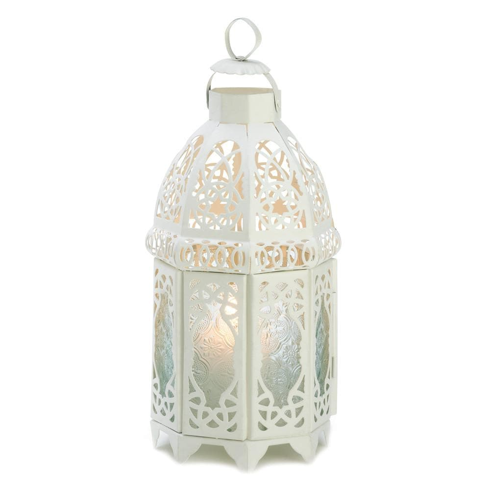White Moroccan Style Lantern with 1 White Led Tea Light with Timer - The House of Awareness