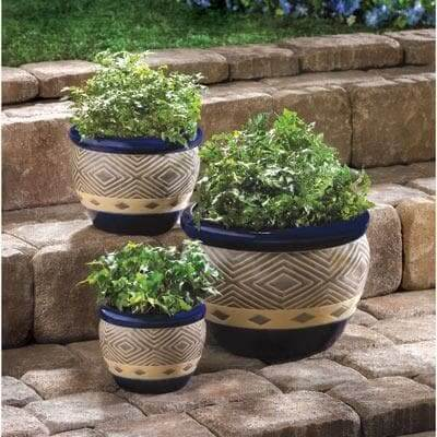 Deep Blue Tribal Planter Trio - The House of Awareness