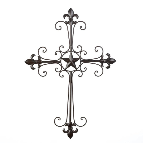 Wrought Iron Fleur De Lis Wall Cross , Heavenly Decor - The House of Awareness, The House of Awareness