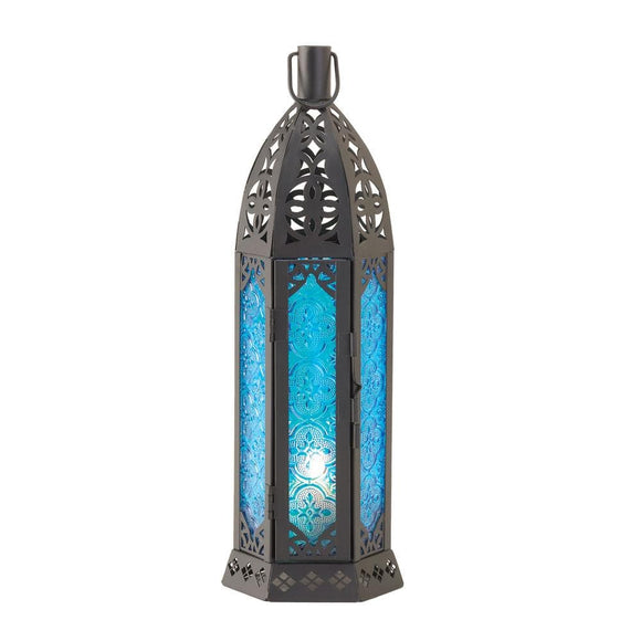 Tall Vibrant Blue Candle Lantern - The House of Awareness
