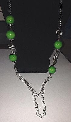 Long Green Beaded Necklace with green earring set , Jewelry Sets - The House of Awareness, The House of Awareness  - 2