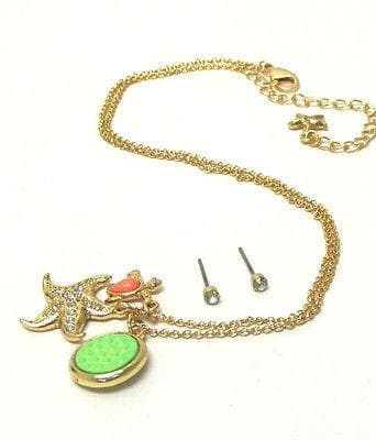 Children's Gold Crystal starfish and turtle dangle necklace w/ stud earring set - The House of Awareness
