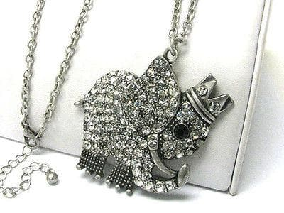 Jewelry Crystal stud burnish metal king of elephant pendant long necklace - The House of Awareness