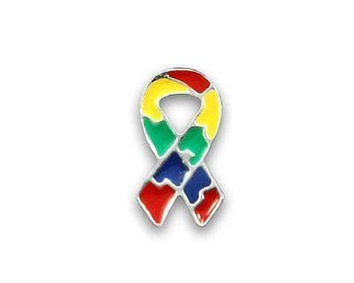 Small Flat - Autism ASD and Aspergers Ribbon Pin with a Gift Box - The House of Awareness