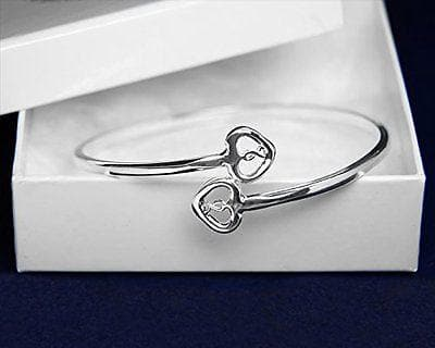 Silver Two Hearts & Ribbon Bangle Bracelets For Mental Health Awareness , Bracelets - The House of Awareness, The House of Awareness  - 2
