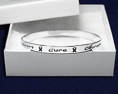 Cancer Awareness Silver Ribbon Bangle Bracelet words Support, Cure, Hope, Courage - The House of Awareness