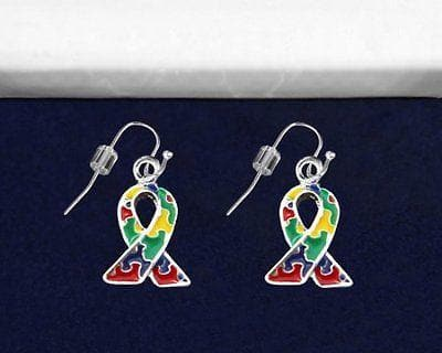Autism and Aspergers Awareness Ribbon Earrings - Hanging - The House of Awareness
