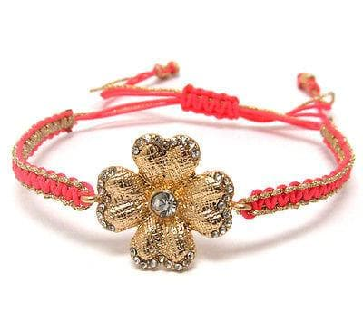 Pink Fashion Crystal metal flower braided yarn friendship bracelet , Bracelets - The House of Awareness, The House of Awareness  - 1