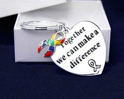 "Ribbon Key Chain words ""Together We Can Make A Difference"" for All Causes with a , Key Chains - The House of Awareness, The House of Awareness  - 2"