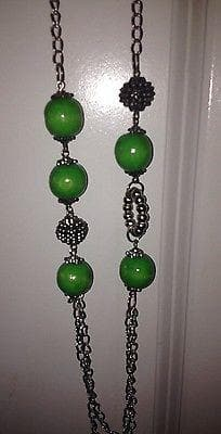 Long Green Beaded Necklace with green earring set , Jewelry Sets - The House of Awareness, The House of Awareness  - 4