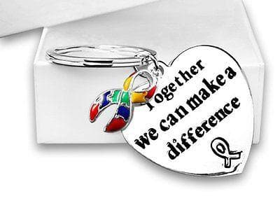 "Ribbon Key Chain words ""Together We Can Make A Difference"" for All Causes with a , Key Chains - The House of Awareness, The House of Awareness  - 1"