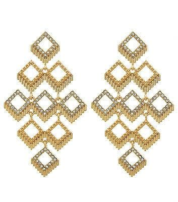 Square Pattern Gold Drop Earrings - The House of Awareness