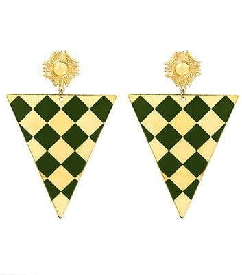 Post Statement Theme Check pattern Shape Triangle in/with Green Gold , Earrings - The House of Awareness, The House of Awareness