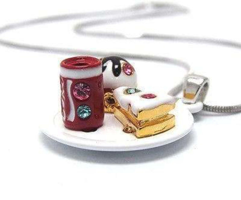 Children's miniature piece of cake and cupcake with soda can pendant necklace - The House of Awareness