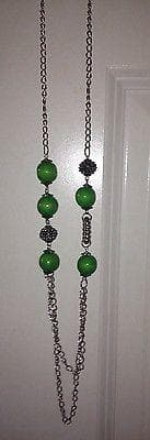 Long Green Beaded Necklace with green earring set , Jewelry Sets - The House of Awareness, The House of Awareness  - 3