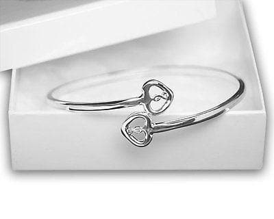 Silver Two Hearts & Ribbon Bangle Bracelets For Mental Health Awareness - The House of Awareness