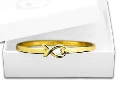 Cancer Awareness Elegant Gold Ribbon Bangle Bracelet with a Gift Box , Bracelets - The House of Awareness, The House of Awareness  - 1