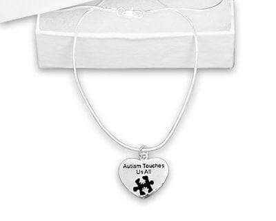 Autism Heart with Words Autism Touches Us All Necklace - The House of Awareness