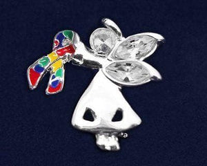 Autism and Aspergers Ribbon Angel By My Side Pin - The House of Awareness