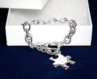 Silver Autism ASD Awareness Puzzle Charm Bracelet - The House of Awareness