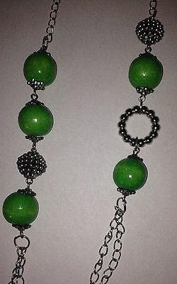 Long Green Beaded Necklace with green earring set , Jewelry Sets - The House of Awareness, The House of Awareness  - 5