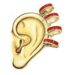 Ear Cuff Earring Urban Glam Bold Bright Colors Magnetic Round Ring with Red Gold - The House of Awareness