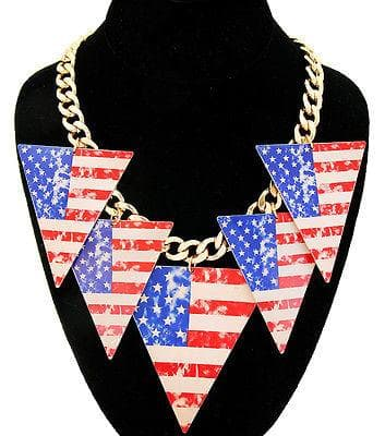 Printed America Flag Triangle Dangle Gold Necklace - The House of Awareness