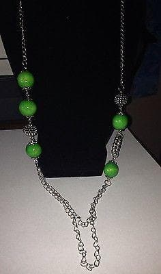 Long Green Beaded Necklace with green earring set , Jewelry Sets - The House of Awareness, The House of Awareness  - 1