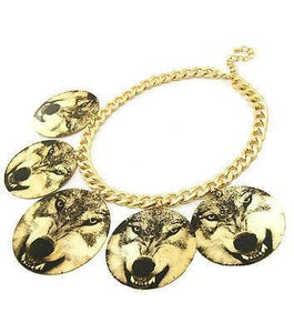 Printed Wolf Circle Dangle Gold Necklace - The House of Awareness