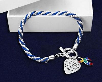AUTISM Awareness SUPPORT BLUE Rope Bracelet Puzzle Ribbon and Charm - The House of Awareness