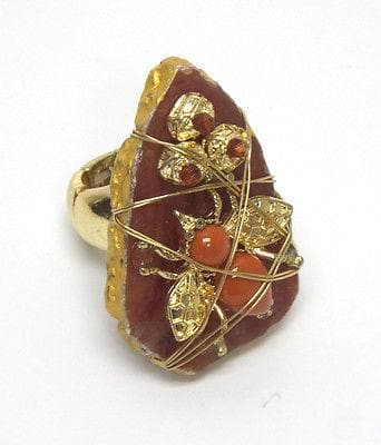 Gold Multi beads on stone with covered wire stretch bug ring - The House of Awareness