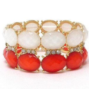 Crystal and facet acrylic oval stone stretch bracelet - The House of Awareness