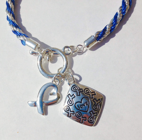 Awareness Causes SUPPORT BLUE Rope Bracelet Puzzle Ribbon and Charm , Bracelets - The House of Awareness, The House of Awareness  - 5